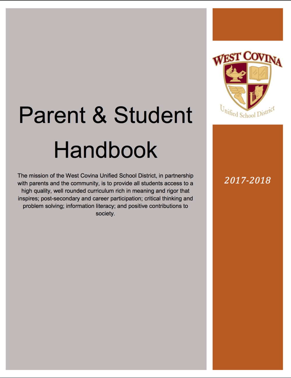 Parent and student handbook for the 2017-2018 academic school year