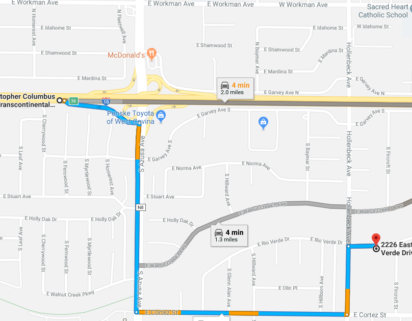 Google Maps showing streets to arrive to Mt. SAC Early College Academy