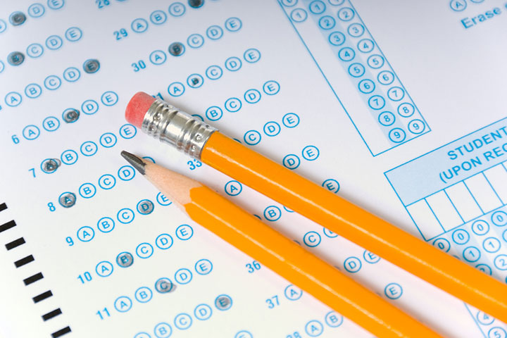 Pencils on top of testing scantron